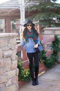 Top: J.Crew | Leggings: Zella | Scarf: J.Crew | Boots: Stuart Weitzman| Bag: Chanel (similar style) | Hat: Rag & Bone | Glasses: Ray-Ban |Lips: Liner-Cherry by MAC, Lipstick-YSL Rouge Pur Couture #13 … Just a little Christmas time casual for your Thursday morning! Thanks for stopping by! xo, Rach