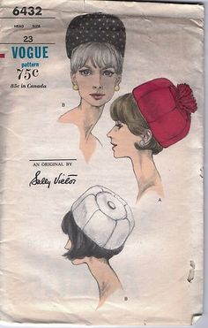 Vogue Pattern # 6432 pill box hat 1960's - Sally Vietor designer