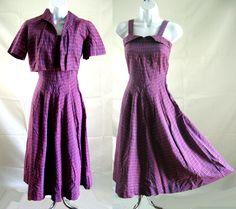 Vintage 40s Bolero Dress Full Skirt Purple Cotton Woven Plaid Sundress 30 Bust by LilBlackDressVintage on Etsy