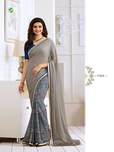 Gray Exclusive Designer Fancy Saree