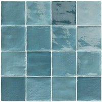 Carrelage Effet Zellige Turquoise 10x10cm Stow Mix Turquese 0 56m Natucer Zellige Carrelage Carreaux De Mosaique De Verre