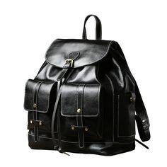 Genuine Leather Mens Cool Backpack Laptop Bag Large Travel Bag Hiking Bag  for Men c73e84fb0a465
