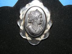Vintage 1940s Large  Cameo Brooch Lucite by ladysslippervintage, $42.99