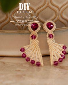 Macrame Earrings Tutorial, Earring Tutorial, Diy Earrings, Diy Tutorial, Crochet Earrings, Macrame Rings, Macrame Jewelry, Micro Macramé, Knots