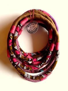 Unique/ Yarn Wrapped Necklace/ African Wax Print by HappyCrafts1