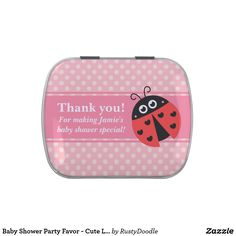 Baby Shower Party Favor - Cute Ladybug with hearts Candy Tin
