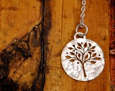 Silver Tree of Life Necklace - Round Sterling Silver Pendant with a pierced tree design.. $54.00, via Etsy.