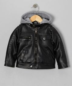 Take a look at this Black Faux Leather & Fleece Moto Hooded Jacket - Boys by Urban Republic on #zulily today!