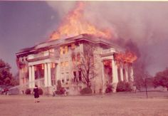 The fire which destroyed the Wilson Administration Building and Alma Reeves Chapel in 1964 on the campus of Mary Hardin-Baylor College in Belton, TX.  We were in church when someone came in and got the MHB president.  We all drove to the campus after church while they were still putting out the fire.