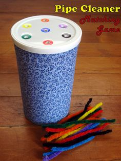 pipe cleaner matching game for toddlers. Change it a bit so that it's fun. Make it a game!!