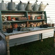 A Pile Of Salvage + A Hutch Top = A To Die For Potting Bench