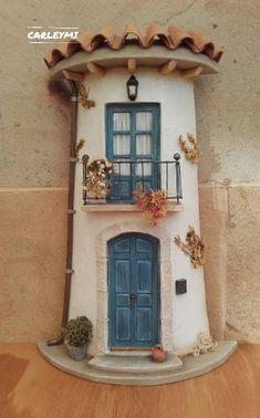 Pottery Houses, Ceramic Houses, Clay Fairy House, Fairy Houses, Roman Clock, Pvc Pipe Crafts, Hobby House, Tile Crafts, Clay Fairies