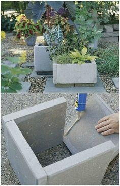 Gardening 596164069411339927 - 25 DIY Garden Pots That Add Decor To Your Outdoor Living Spaces – DIY Repurposed Paver Planters – Source by Front Yard Landscaping, Backyard Landscaping, Backyard Ideas, Porch Ideas, Backyard Patio, Decorative Rock Landscaping, Front Yard Decor, Modern Front Yard, Front Yard Design