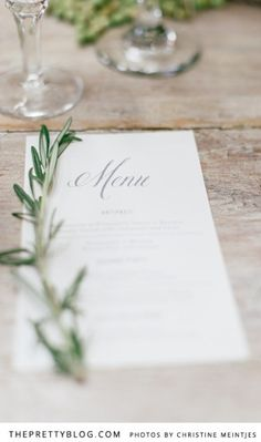 Italian inspired wedding menu - rosemary sprigs as decoration Olive Wedding, Greek Wedding, Wedding Menu, Wedding Stationary, Wedding Shoot, Chic Wedding, Wedding Table, Rustic Wedding, Our Wedding