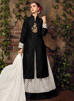 Black White Embroidery Work Art Silk Cotton Designer Anarkali Suit         #Anarkali #Churidar #Pakistani #Suit #Salwar #Bollywood       http://www.angelnx.com/Salwar-Kameez