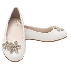 ea4610d0ec76 Nanette Lepore Girls White Bejeweled Floral Applique Slip-On Flats 11-4 Kids  Communion