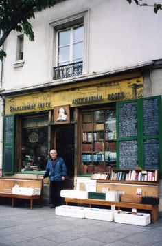 Paul Legall at Shakespeare and Co. antiquarian bookstore, Paris, France