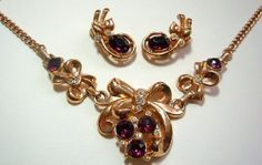 Vintage Lisner Necklace Earring Set Signed Purple & Clear Ice Rhinestones Gold Metal Art Deco Set vg