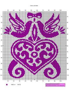doves heart Wedding Cross Stitch Patterns, Modern Cross Stitch Patterns, Counted Cross Stitch Patterns, Cross Stitch Embroidery, Filet Crochet Charts, Knitting Charts, Wedding Doves, Christmas Embroidery Patterns, Cross Stitch Heart