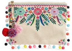 Steven By Steve Madden Embroidered Clutch - Beige