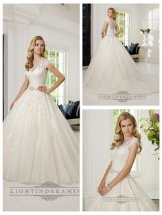 SHORT SLEEVES ILLUSION BOAT NECKLINE A-LINE LACE APPLIQUES WEDDING DRESSES