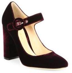 Gianvito Rossi Lorraine Velvet Mary Jane Block Heel Pumps