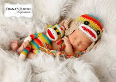 Rainbow & Tan Sock Monkey Earflap Hat with Matching Doll - Newborn Baby Boy or Girl Photography Photo Prop. $35.00, via Etsy.
