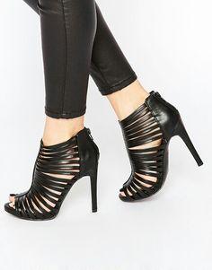 ba14f1daac9e New Look Black Caged Heeled Sandals New Look Sandals