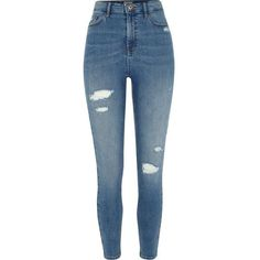River Island Mid blue rip Harper high waisted skinny jeans ($84) ❤ liked on Polyvore featuring jeans, bottoms, pants, blue, skinny jeans, women, ripped jeans, high waisted distressed jeans, high-waisted jeans and high rise skinny jeans