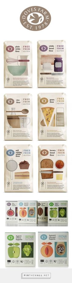 Studio h Doves Farm branding & packaging design curated by Diva PD. Simple illustration style created for their glu-ten free flour range conveys ease of baking and creating delicious food from recipes on the back of pack. Cool Packaging, Food Packaging Design, Packaging Design Inspiration, Brand Packaging, Baking Packaging, Food Branding, Branding Design, Marketing Branding, Food Design