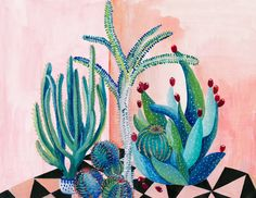 En écrivant+mon+article+de+ce+matin+sur+« Happy+couleurs+!+Happy+Déco+! »,+j'ai+découvert+les+peintures+de cactus+et succulentes de+l'artiste Laura+Garcia+Serventi [je+présente+le+loft+qu'elle+partage+à+Brooklyn+avec+son+mari+photographe].+Parce+que+j'ai+aimé+ces+illustrations+colorées…