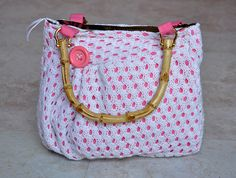 Adorable upcycled purse - one of a kind, small white and pink pleated pouch, handbag, with bamboo handles and zipper