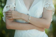 Swarovski Bridal Bracelet with Pearls by Aya Jewellery