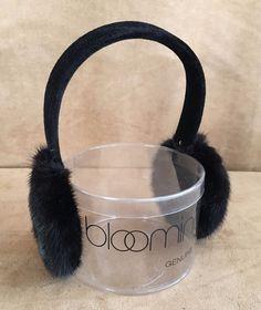 Mink fur earmuffs Bloomingdales New black  Surrell in package men women ear muff #Surrell