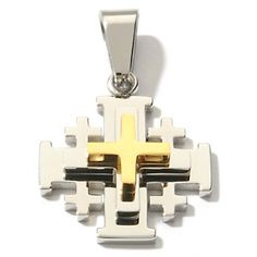 "Michael Anthony Jewelry® Two-Tone Stainless Steel ""Jerusalem"" Cross Pendant at HSN.com."