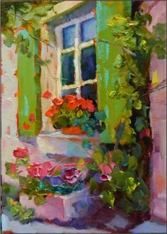 Green Shutters , 5x7, oil on gessoboard, by Maryanne Jacobsen, painitngs of France, shutters, doorways, flowers, green -- Maryanne Jacobsen