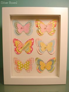 Butterfly wall art cool i would prob take glass out and make butterflies Mini Canvas, Canvas Frame, Canvas Wall Art, Crafty Projects, Art Projects, Box Frame Art, Paper Art, Paper Crafts, Mod Podge Crafts
