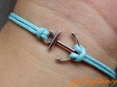 Anchor Bracelet-- Cute Silver Anchor Bracelet, Blue Wax Cords Braclet, Best Gift for Friend---C224. $1.49, via Etsy. material-girl