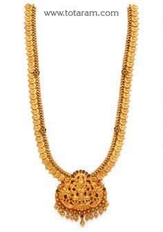 22K Gold 'Lakshmi Kasu' Long Necklace (Temple Jewellery)