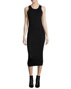 Ergonomic Flash Sleeveless Midi Dress, Black by McQ Alexander McQueen at Neiman Marcus.