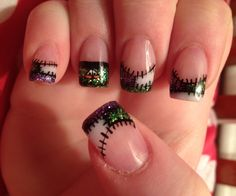 Nails by Sarah: Halloween Frankenstein and Patch work