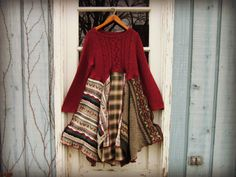 Lg. Upcycled Bohemian Sweater Dress// emmevielle by emmevielle $125.00  Enter PIN10 at checkout for 10% off.