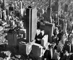 Rockefeller Ctr., 1937. St. Thomas' Church at left, site of Jackie O's funeral. Fairchild.