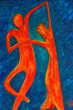 Abstract Art Digital Art Print Dancing Couple by NonisEclecticShop, $18.00
