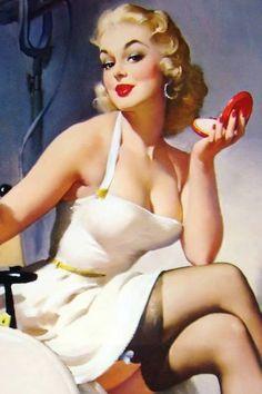 Red lipstick vintage pinup