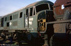 North British class 21 D6122, a former Scottish Region locomotive, had been used, following withdrawal, for rerailing exercises at Hither Green.--- Barry Scrapyard -- England