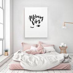 Morning Vibes Sleep Handwritten Handlettered Interior Bedroom Calligraphic Black White Quote Poster Prints Printable Wall Decor Art