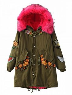 Shop Army Green Embroidered Fleece Lining Faux Fur Hooded Parka from choies.com .Free shipping Worldwide.$79.9