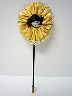 Charming Powder Puff on Stick w Flapper Girl on Ornate Lace Trimmed Puff Doll Head, Doll Face, Powder Puff Girls, Lipstick Holder, Hat Stands, Pin Cushions, Vintage Prints, Wands, 1920s