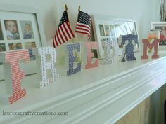 Pick Your Plum Freedom Decor on my Mantel.  #PYP #PickyourPick #crafts #DIY